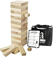 Giant Timber Tower with Dice & Game Board, 56 Pcs Gentle Monster Large Size Wooden Stacking Game, Classic