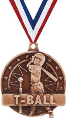 Baseball Medals - T-Ball Medal - Bronze Kids Baseball Medals with Neck Ribbon 10 Pack Prime