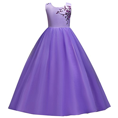 6f99c7ab48b IBTOM CASTLE Little Big Girls  Tulle Flower Long Dresses 7-16T Pageant  Party Wedding Bridesmaid Floor Length Prom Dance Evening Gowns Purple 12-13  Years