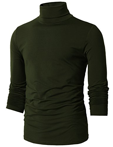 (H2H Mens Basic Slim Fit Turtleneck Knit Sweater DARKOLIVEGREEN US 2XL/Asia 3XL (CMTTL098))