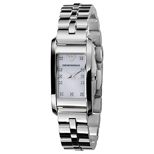 (Emporio Armani AR3167 Ladies Donna White Stones Silver Watch)