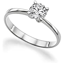 Moissanite Forever One G-H VS 5MM Engagement Ring 14K Gold / Round Cut (0.39ct actual, 0.5ct diamond equivalent weight)
