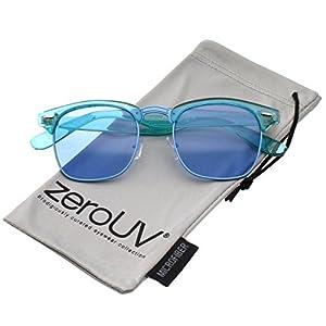 zeroUV - Classic Translucent Horn Rimmed Square Color Tinted Lens Half Frame Sunglasses 49mm (Blue / Blue)