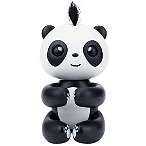 Prime Interactive Happy Finger Baby Panda Smart Electronic Toys Finger Puppet Sleep Robot Pet with voice for Kids Children Birthday Christmas NEW year Holiday Gift (Black)