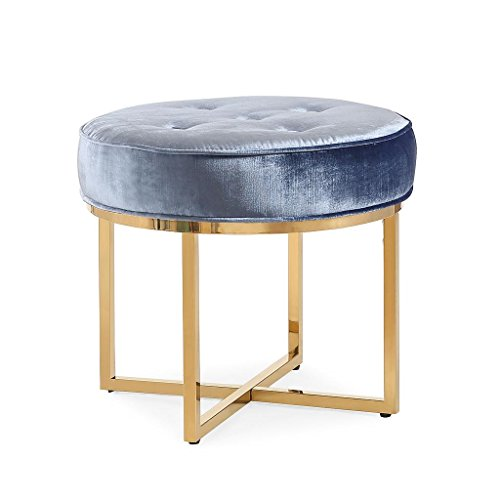 Grace Table Stool (Tov Furniture The Layla Collection Modern Style Velvet Upholstered Round Living Room Ottoman, Shimmery Blue)