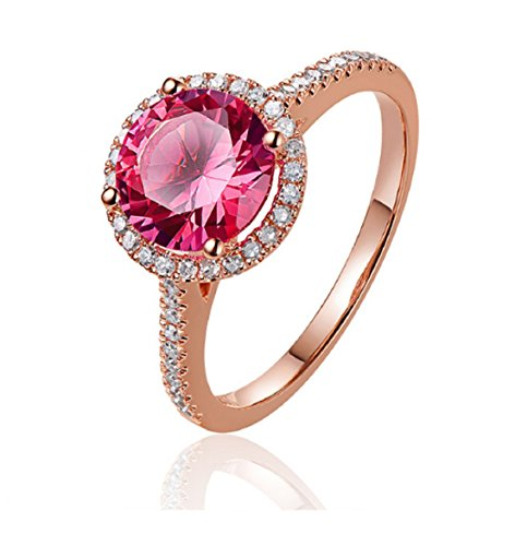 GOWE 14kt Rose Gold 2.31ct Pink Topaz and 0.44ct Natural Diamond Engagement Ring 0