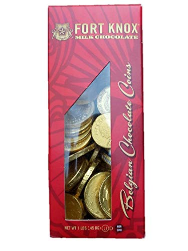 Foil Wrapped Chocolate Belgian - Premium Belgian Gold Chocolate Coins, Boxed - 1lb