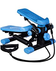 Relaxdays Stepper, verstelbare weerstand, met expander, snelheidsmeter en stappenteller (h x b x d): 170 x 31 x 33 cm, zwart-blauw