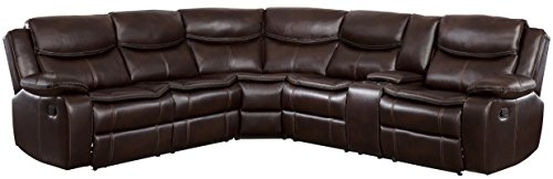 Homelegance Bastrop 3-Piece Reclining Sectional Sofa with Cup Holder Console Leather Gel Match with Accent Stitching, Brown