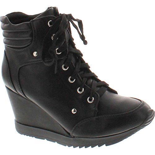 Forever Adriana11 Women Sporty Leatherette Lace-Up High Top Wedge Sneaker Bootie Shoes,Black,7