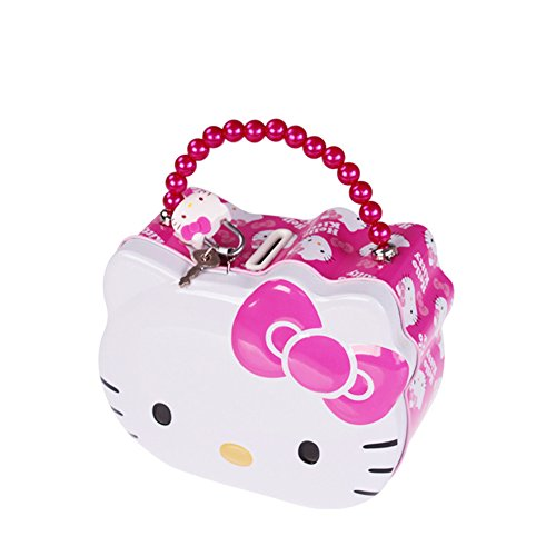 YOURNELO Cute Portable Desk Ornaments Simple Hello Kitty Iron Box Money Box with Lock Coin Piggy Bank for Girls (Pink)