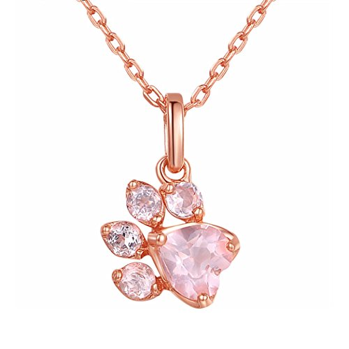 CULOVITY Dainty Paw Pendant Necklace 18K Rose Gold Filled Cubic Zirconia Jewelry for Puppy Lovers -