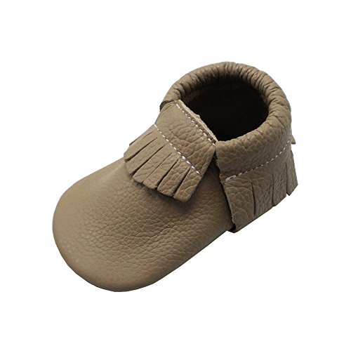 YIHAKIDS Baby Tassel Shoes Soft Leather Sole Infant Shoes Baby Moccasins Crib Shoes Khaki(Size 6.5,12-18 Months/5.3in)