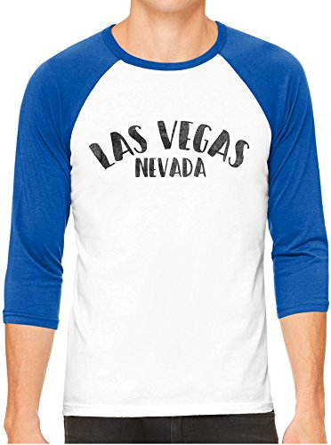 Unisex Mens City of Las Vegas Nevada 3/4 Sleeve White Baseball T-Shirt, Royal Sleeves, XS
