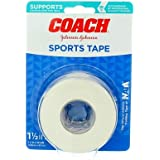 Johnson & Johnson Coach Sports Tape, Breathable Cloth Tape to Support and Protect Joints, for Fingers, Wrists, and Ankles, 1.