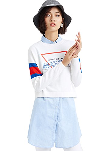 meters-bonwe-womens-casual-2-piece-pullover-sweater-dress-set-white-s