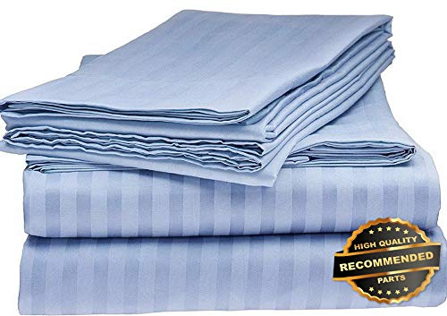 (Sandover 1800 Series 100% Cotton Satin Dobby Stripe Sheet Set- Assorted Colors and Sizes| Size King | Style DUV-5301218201)