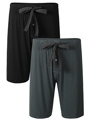 David Archy Men's 2 Pack Soft Comfy Bamboo Rayon Sleep Shorts Lounge Wear Pajama Pants (L, Black+Dark Gray)]()