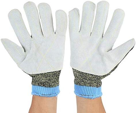 労働保護作業用手袋 労働保護手袋耐摩耗性アンチカッティングマシーン高温耐性250°F保護手袋 (Color : Blue, Size : L)