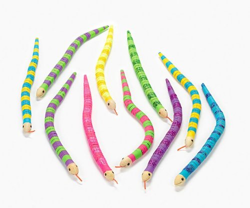 Unfinished Wood Wiggly Snakes (1 dz) by Fun Express, white 48/3395