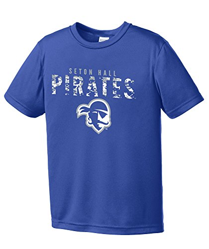 Child Pirate Royal - NCAA Youth Boys Digital Camo Mascot Short Sleeve Polyester Competitor T-Shirt, Seton Hall Pirates, Royal - Youth Large