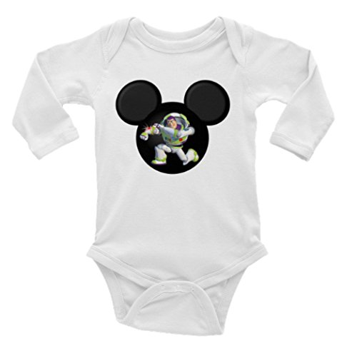Mickey Head Buzz Lightyear Long Sleeve Unisex Onesie (24)