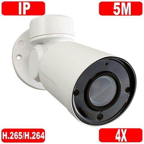 GW Security H.265 5MP Super HD 1920P IP High Speed Onvif Network PoE Bullet PTZ Camera 4X Optical Zoom Waterproof Outdoor/Indoor, 130 feet IR Night Vision - High Speed Ptz Camera