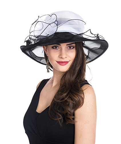 SAFERIN Women's Kentucky Derby Sun Hat Church Cocktail Party Wedding Dress Organza Hat Two Tone Color (New-White Black Flower)