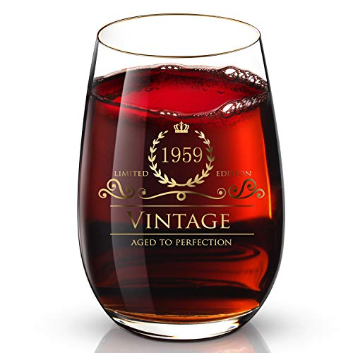 1959 59th Birthday/Anniversary Gifts Idea for Women/Men/Dad/Mom -Funny Vintage 24K Gold Handcraft Stemless Wine Glasses, Perfect for Gift & Home Use, 13 oz Glass Red/White Wine & Party Decorations