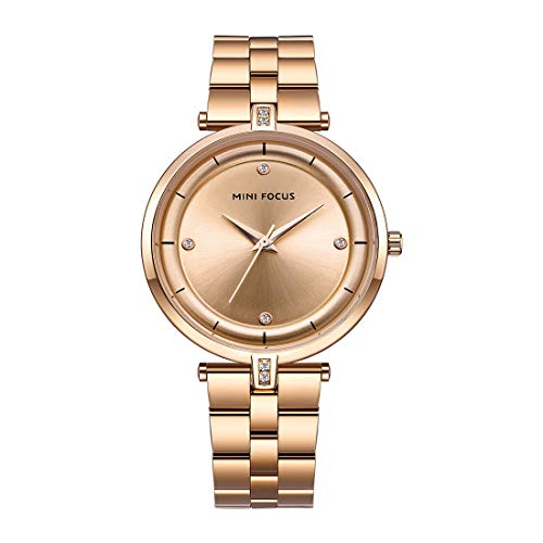 MINI FOCUS Women's Japanese Quartz Movement Luminous Waterproof Watch with Solid Stainless Steel Belt (Rose (Solid Gold Womens Mini Watch)