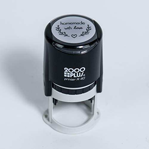 Homemade with Love Self-Inking R40 Round Stamp with Heart and Olive Branch, 1 1/2