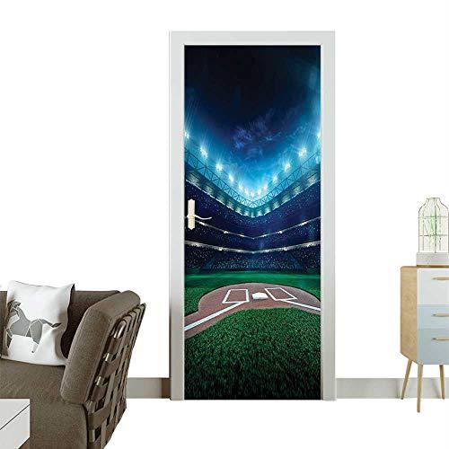 Homesonne Decorative Door Decal Pr si al Baseball Field Night Spotlights Playground Stadium League Stick The Picture on The doorW31 x H79 -
