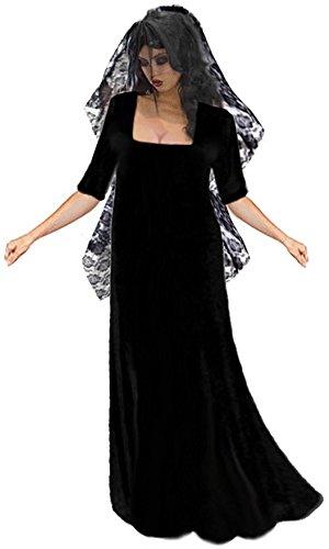Sanctuarie Designs Women's Gothic Corpse Bride With Long Veil Plus Size Supersize Halloween Costume Dress/2x/Black/ -
