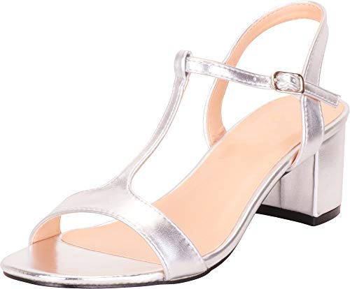 (Cambridge Select Women's Open Toe T-Strap Chunky Block Mid Heel Sandal,9 B(M) US,Silver PU)