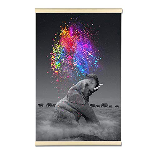 DIY 5D Full Drill Diamond Hanging Painting Kits for Adults Kids, Crystal Rhinestone Diamond Embroidery Paintings Arts Craft Home Wall Decor (Elephant, 16x24 Inch)