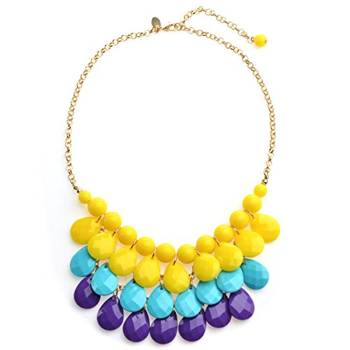 Ginasy Crystal Statement Necklace, Fashion Choker Jewelry Gift for Women Girls (Link Costume Template)