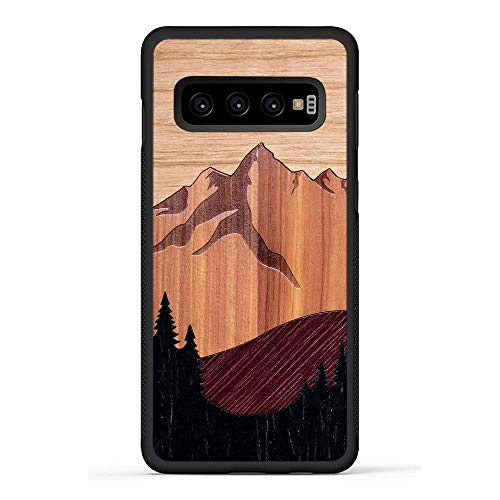 (Carved - Galaxy S10 - Luxury Protective Traveler Case - Unique Real Wooden Phone Cover - Rubber Bumper - Mount Bierstadt)