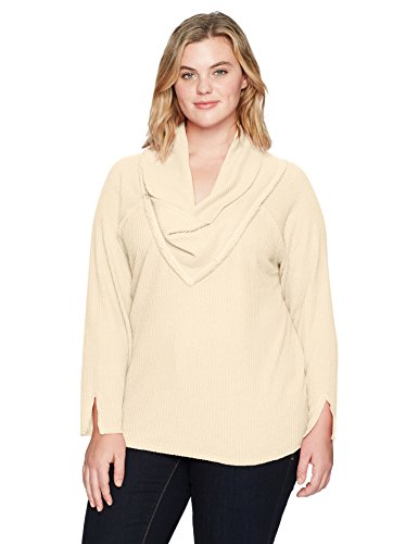 Democracy Women's Plus Size Long Sleeve Cowl Neckline Top, Oatmeal, 2X by Democracy