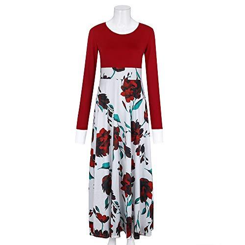 Fanyunhan Women Fashion Long Sleeve Floral Boho Dress Print Long Maxi Dress Ladies Casual Dress Red by Fanyunhan Dress (Image #2)