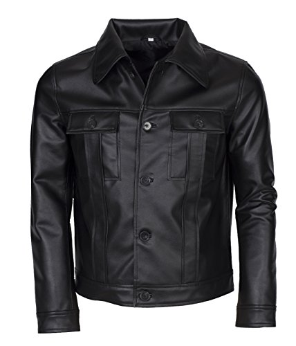 "Elvis Presley Mens Vintage American Singer Popstar Black Faux Leather Jacket (XS to fit Chest 38-39"")"