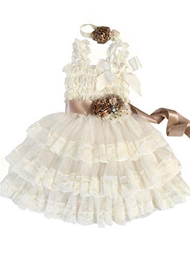 Rosy Kids Girl's Vintage Chic Flower Girl Lace Dress Flower Sash Hair Flower, Ivory Dress Champagne Sash Coffee Satin Flower, L ()