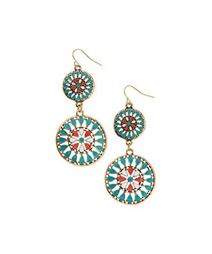 Coral Inlay Earrings - Lux Accessories Synthetic Turquoise & Coral Inlay Medallion Drop Earrings