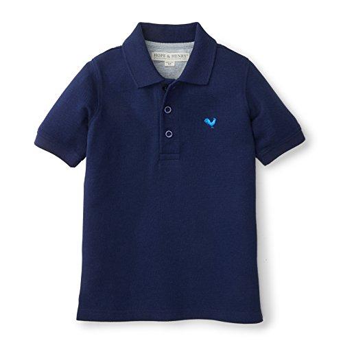 Organic Pique Polo Shirt - Hope & Henry Boys Soft Lightweight Blue Pique Polo