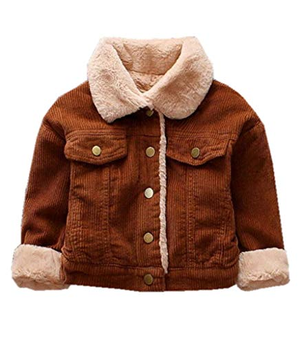 (LuxFamo Unisex Child Winter Corduroy Sherpa Jacket Fleece Lined Quilted Button DownCoat for Little Boys Girls (Brown, 3T))