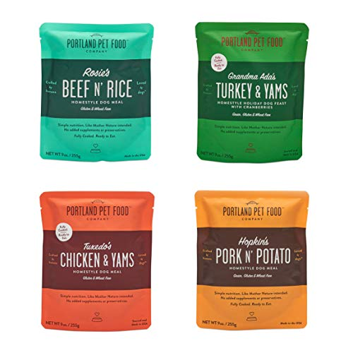(Crafted by Humans Loved by Dogs Portland Pet Food Company All Natural, Homestyle Dog Meal, Fully Cooked Microwavable Meal Pouches, USA Made, 4 Pack (4 x 9oz) (Mixed Pack, 4 Pack))