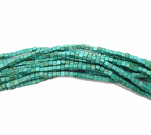 Blue 4x4mm Cube Chalk Turquoise Dyed Mix Gemstone Beads Approx 30