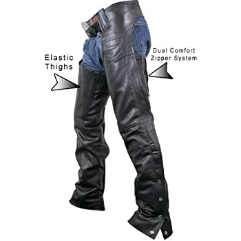 Black, XX-Small Milwaukee Womens Low Rise Double Buckle Leather Chaps