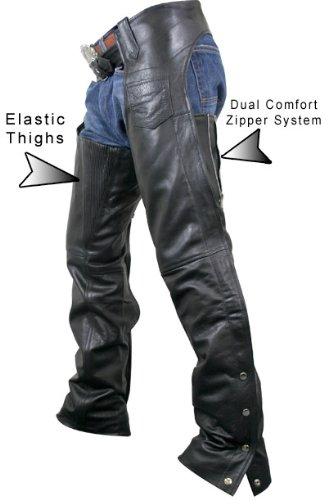 Xelement 7553 Womens Black Advanced Dual Comfort Leather Chaps - 8