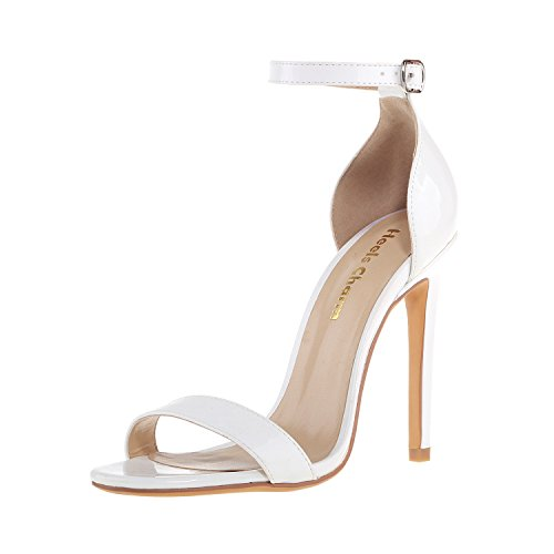 Women's Open Toe Stiletto High Heel Ankle Strap Sandals for Dress Wedding Party Evening Shoes Patent Leather White Size 7.5 ()