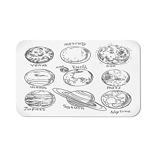 Doodle Precise Mouse Pad,Planets of Solar System Sun Mercury Earth Moon Mars Neptune Saturn Jupiter Science for Home & Office,11.81''Wx27.56''Lx0.08''H